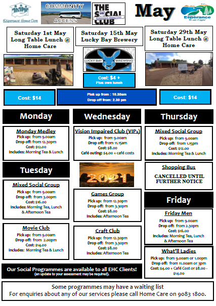 December EHC Social Club Schedule